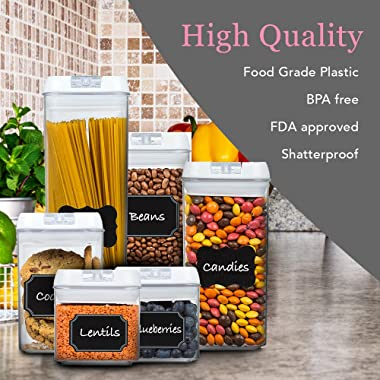 Plastic Container Set, 6 Airtight containers- with FREE Labels Perfect for Keeping Your Kitchen Smart and Organized, Food Container Set by Bella Vitae Brands