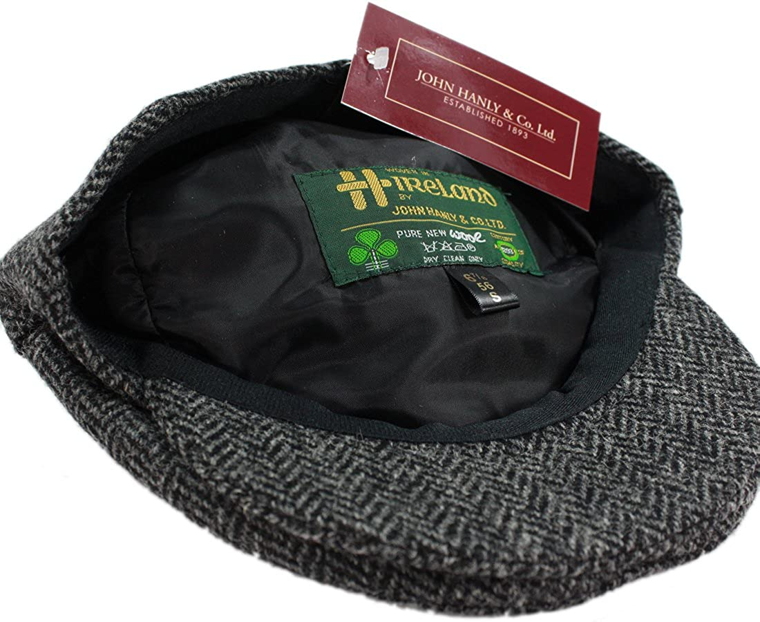 ce141e6f572 John Hanly Men s Irish Hat Wool Grey Herringbone Made in Ireland at Amazon  Men s Clothing store
