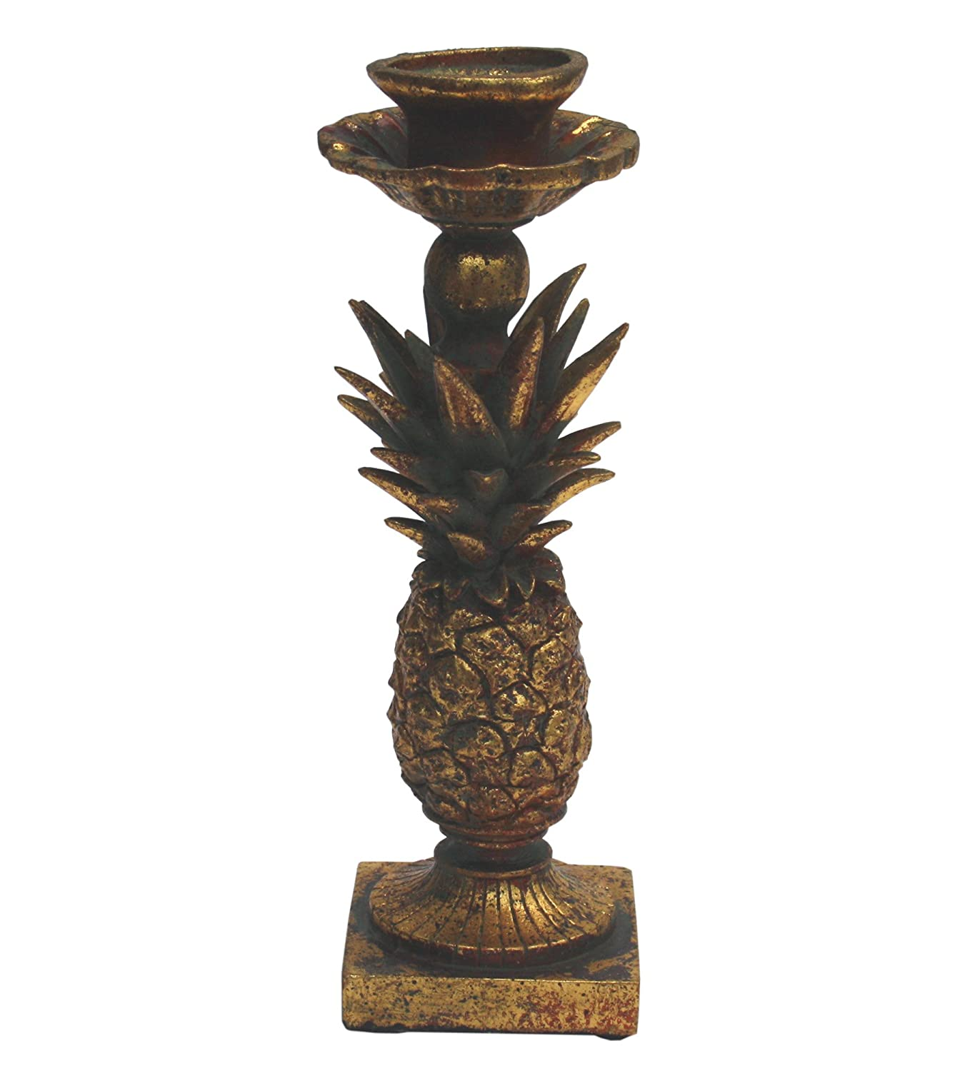 Heavily Distressed Gold Coloured Pineapple Taper Candle Holder marymarygardens