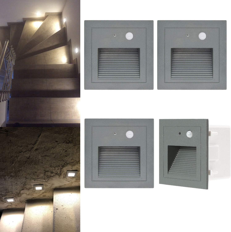 LED Wandeinbauleuchte Stufe Leuchte Treppe Beleuchtung mit Bewegungsmelder 230V