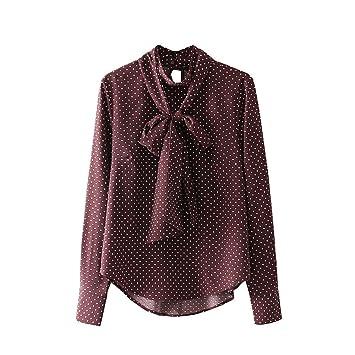 Las señoras de moda casual hombres camisa Ladies European Style Dot Pullover blusa camisa,Foto
