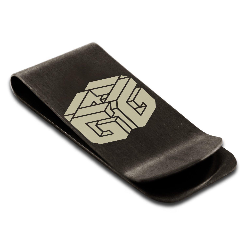 Stainless Steel Letter G Initial 3D Cube Box Monogram Engraved Money Clip Credit Card Holder