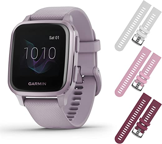 Garmin Venu Sq GPS Fitness Smartwatch and Included Wearable4U 3 Straps Bundle (White/Pink/Berry, Lavender/Purple 010-02427-02)