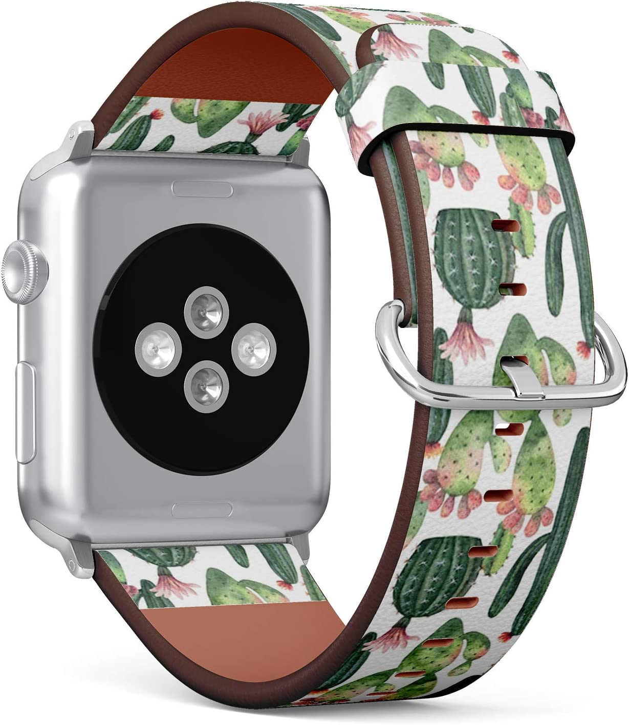 Compatible with Big Apple Watch 42mm & 44mm (All Series) Leather Watch Wrist Band Strap Bracelet with Stainless Steel Clasp and Adapters (Watercolor Cacti Succulent)