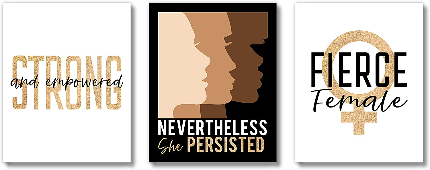 Brooke & Vine African American Black Woman Wall Decor Art Prints (UNFRAMED 8 x 10 Set of 3) Empowered Women, Feminist Feminism Teen Girl Room Inspirational Posters - Home, Office, Bedroom, Dorm or Cubicle - Nevertheless She Persisted