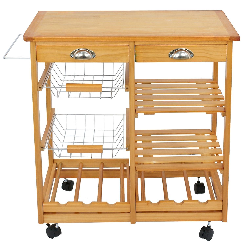 ZENSTYLE 4-Tier Rolling Kitchen Island Trolley Utility Wood Kitchen Storage Cart Microwave Cart w Towel Rack, Drawers, Shelves, 6 Bottle Wine Rack