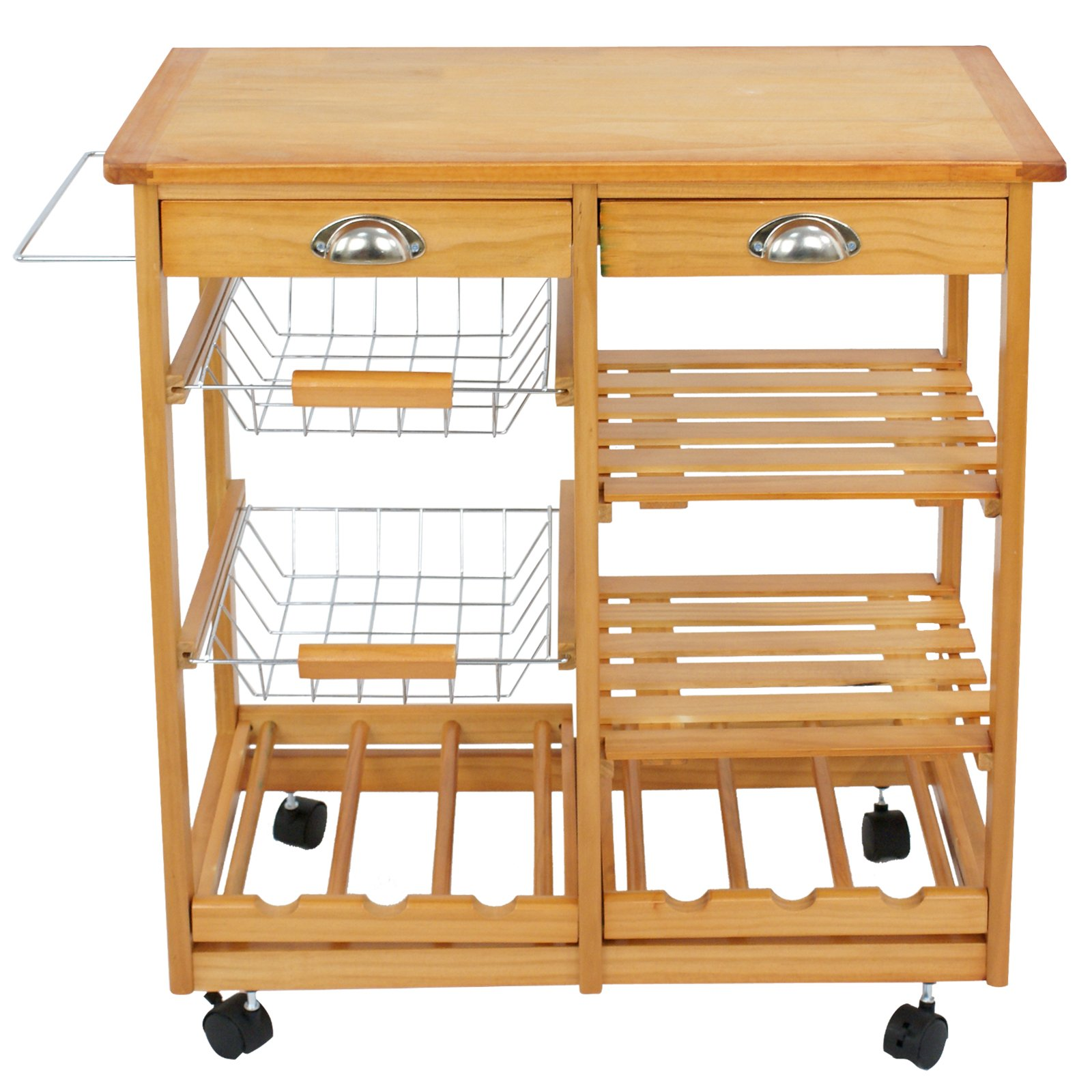 SUPER DEAL Multi-Purpose Wood Rolling Kitchen Island Trolley w/Drawer Shelves Basket by SUPER DEAL (Image #4)