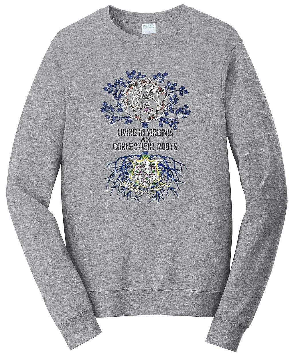 Tenacitee Unisex Living in Virginia Connecticut Roots Sweatshirt