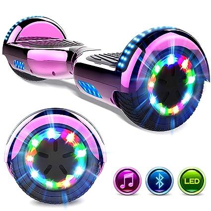 GeekMe Patinete Eléctrico 6.5 Self Balance Scooter Las Ruedas LED Luces, Scooter eléctrico con Bluetooth- UL2272 Certificado el Patinete Eléctrico ...