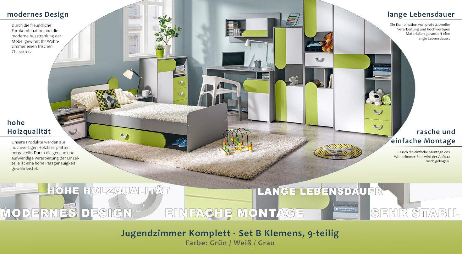 Jugendzimmer Komplett - Set B Klemens, 9-teilig, Farbe: Grün / Weiß ...