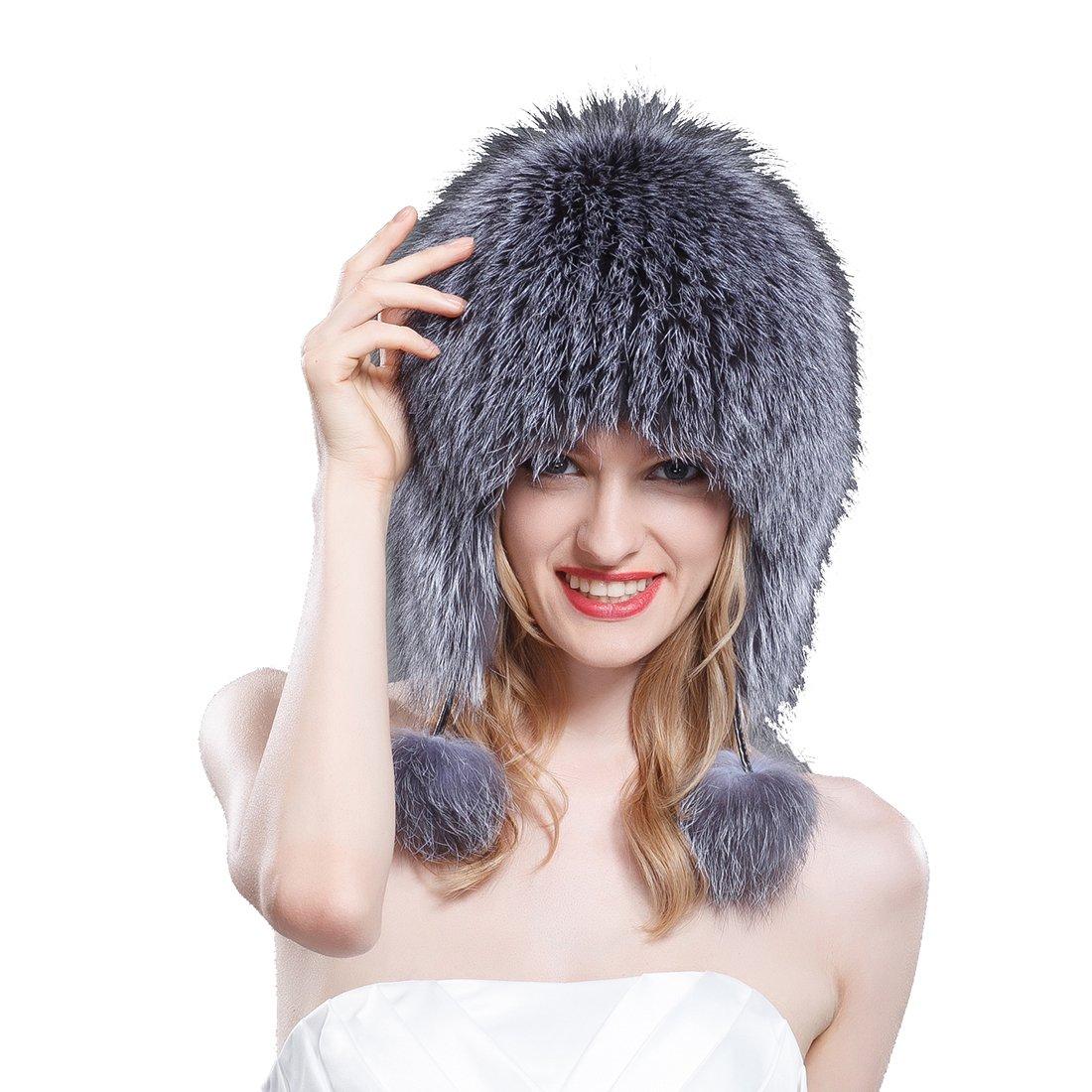 URSFUR Silver Fox Fur Bonnet Hat with Pom Poms Natural Color