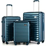 """Coolife Luggage Suitcase 3 Piece Set expandable (only 28"""") ABS+PC Spinner suitcase with TSA Lock carry on 20 in 24in 28in (la"""