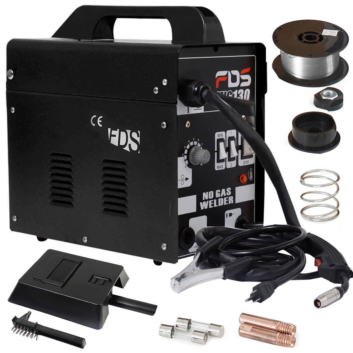 Goplus MIG 130 Welder AC Flux Core Wire Automatic Feed Welder Welding Machine w/ Free Mask Commercial (Black) by Goplus