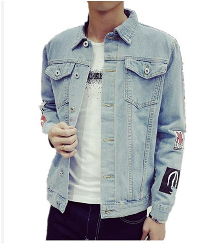 Batsomer New Men's Fashionable Slim Fit Jean Clothes Sky Blue M