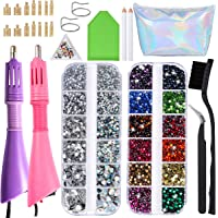 Two Hotfix Applicators with 7200 pcs Rhinestones- Flatback Hotfix Rhinestones in 14 Colors and 7 Sizes with Two Color…