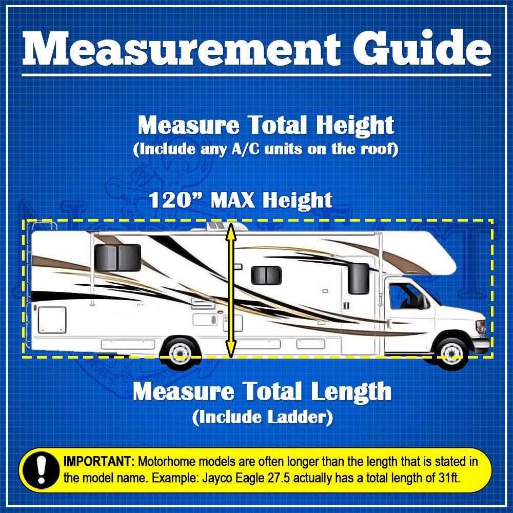 WATERPROOF SUPERIOR RV MOTORHOME FIFTH WHEEL COVER COVERS CLASS A B C FITS LENGTH 26'-30' NEW TRAVEL TRAILER CAMPER ZIPPERED PANELS ALLOW ACCESS TO THE DOOR, ENGINE AND BOTH SIDE STORAGE AREAS by North East Harbor