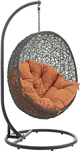 Modway EEI-2273-GRY-ORA Hide Wicker Rattan Outdoor Patio Porch Lounge Egg Swing Chair Set