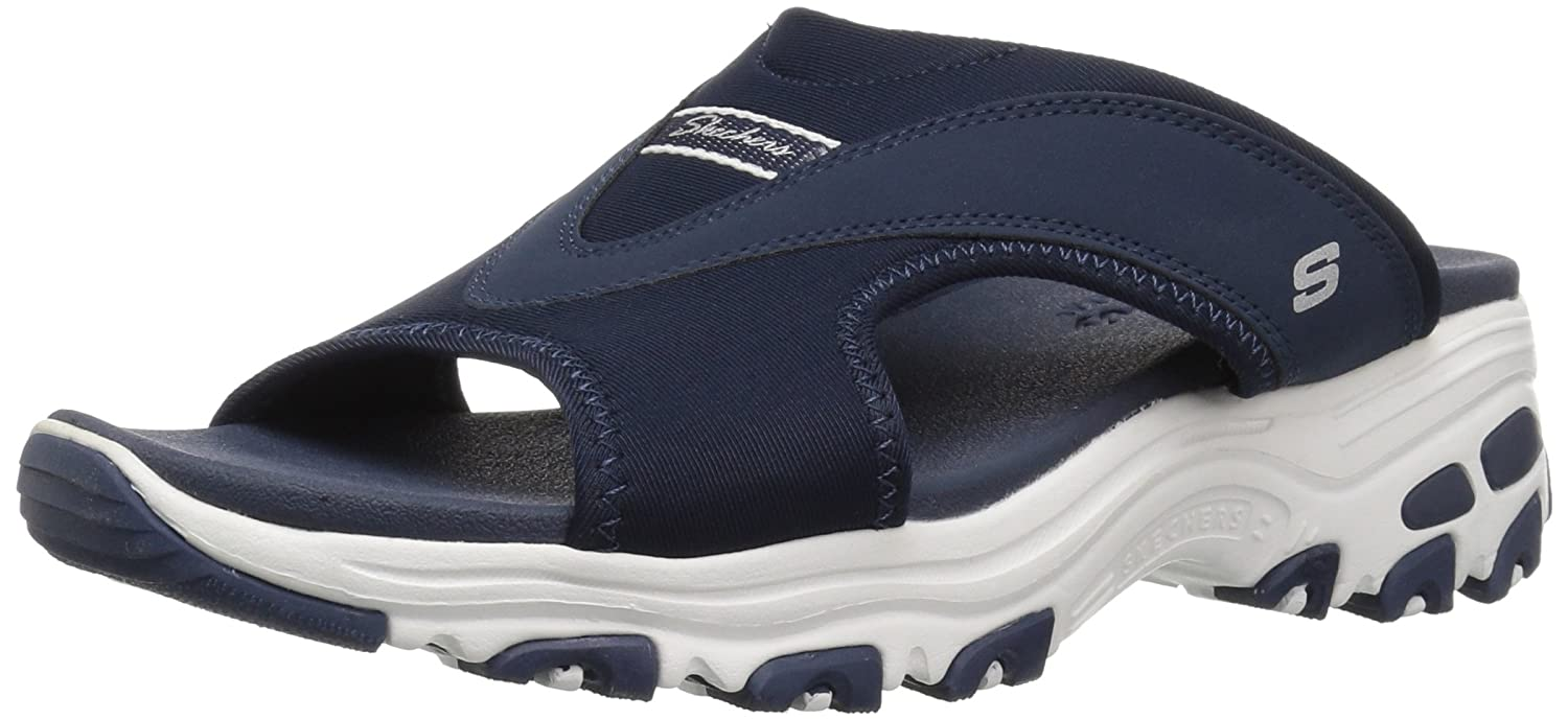 Skechers Women's D'Lites-Retro Vibe Slide Sandal B071KKK8GQ 8 M US|Navy