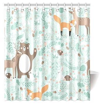 InterestPrint Girls Boys Kids Baby Lover Decor Shower Curtain Woodland Forest Animals Trees Birds Bear