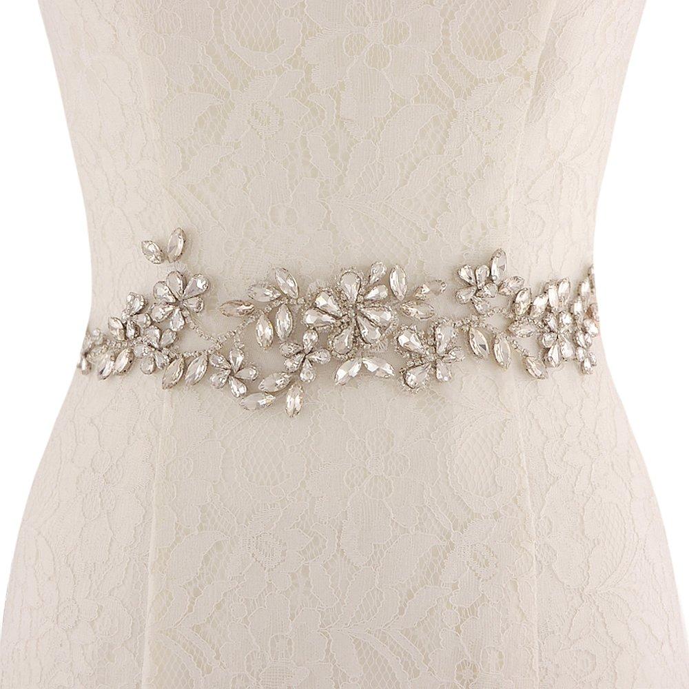Women 4 Row Pearl Beading Crystal Buckle Waist Corset Belt Waistband Wedding
