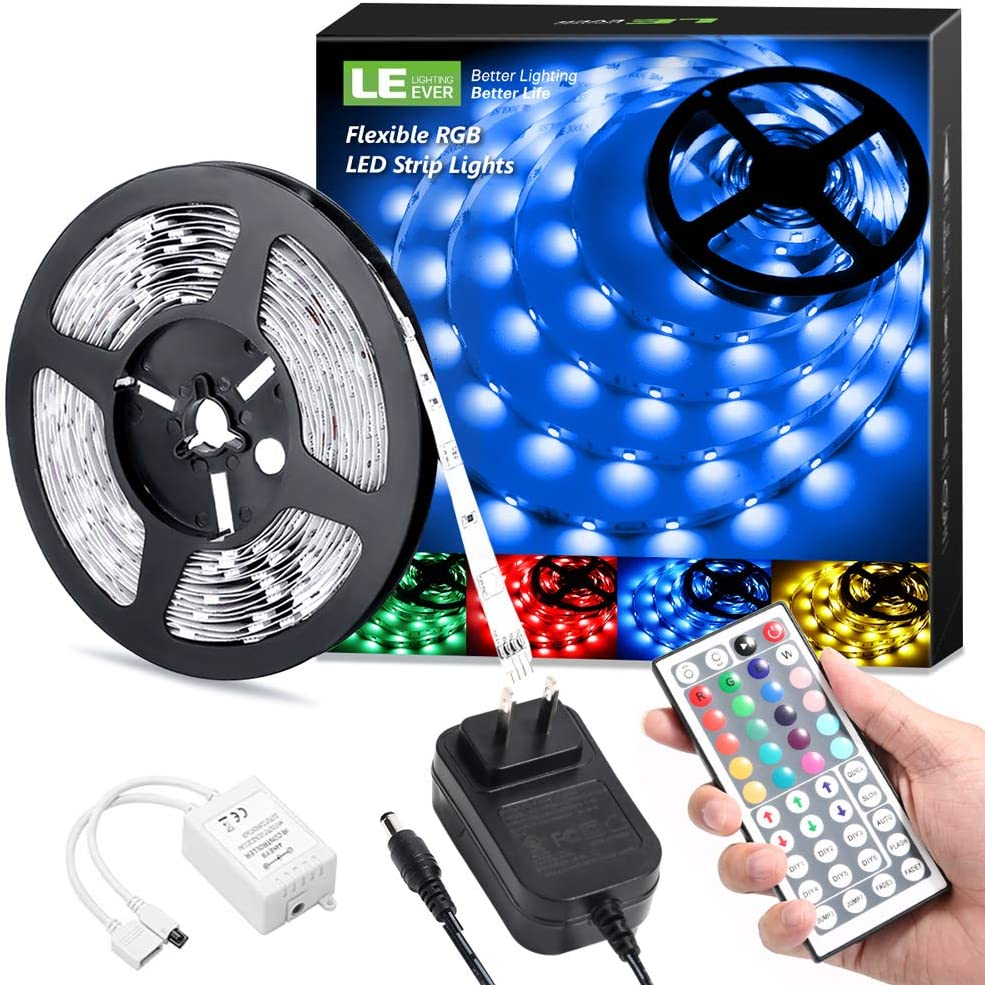 LE LED Strip Lights, 16.4ft RGB 5050 LED Strips with Remote Controller, Color Changing Tape Light with 12V Power Supply for Room, Bedroom, TV, Kitchen, Desk