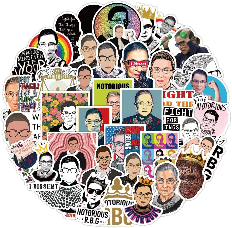Female Justice RBG Stickers for Adult, Teen (50pcs Pack), Cool Vinyl Decal for Laptop Skateboard Water Bottle Phone Bike Car Luggage Guitar Travel Case (Ruth Bader Ginsburg)