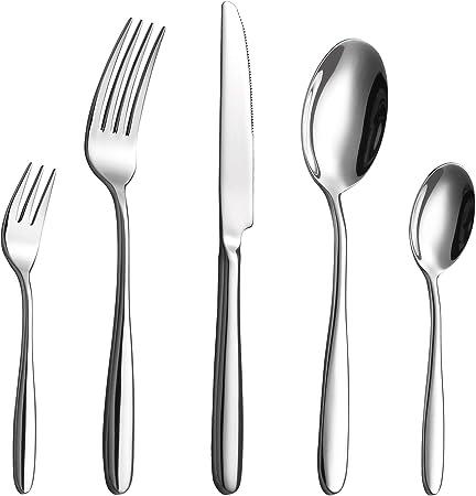 Velaze Juego de Cubiertos, Set 20 Piezas de Vijilla de Acero Inoxidable 18/10 para 4 Personas incluye 4 Cuchillos de Mesa, 4 Tenedores, 4 Cucharas, 4 Cucharitas de Té y 4 Tenedores de Postre, Plata: Amazon.es: Hogar