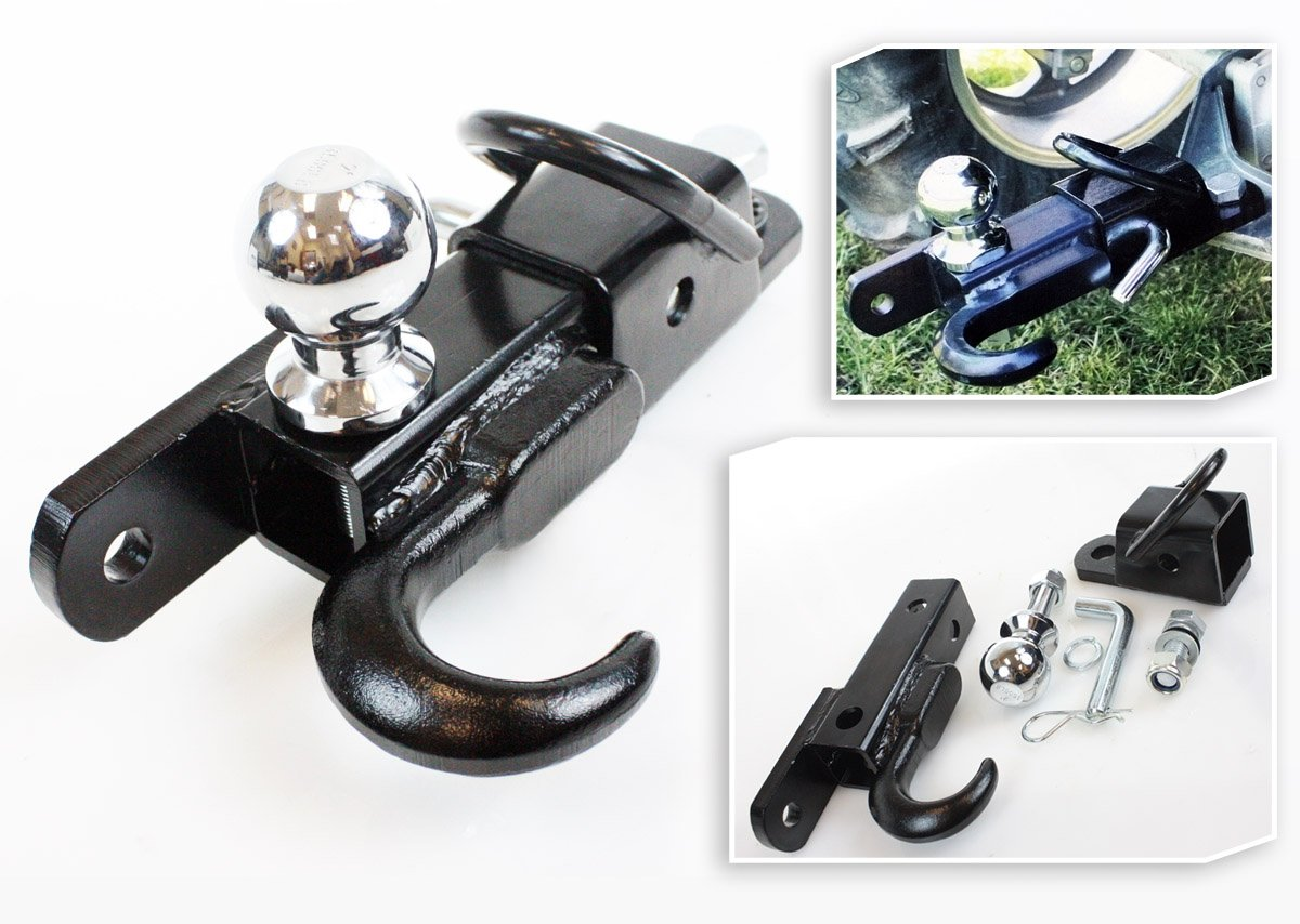 Off Road ATV Receiver Trailer Hitch 2'' 3 Way Ball Tow Hook Utility Lawn Tractor by i_s import