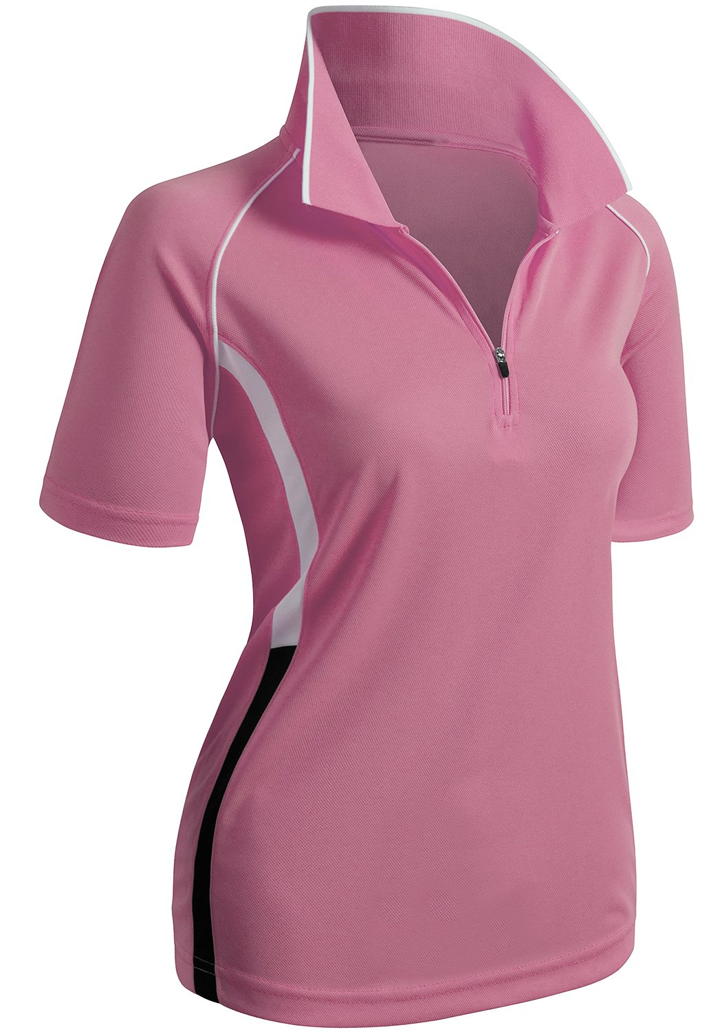 CLOVERY Quick Drying Active Wear Short Sleeve Zipup POLO Shirt PINK US M/Tag M