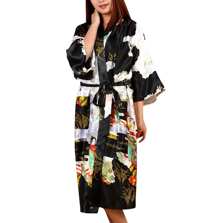 Dolamen Mujer Vestido Kimono Sat/én Geisha /& Flores Robe Albornoz Dama de Honor Ropa de Dormir Pijama Camis/ón para Mujer Estilo Largo /& 2017