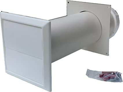White Tumble dryer through wall core vent kit - Gravity style vent with  100mm 4