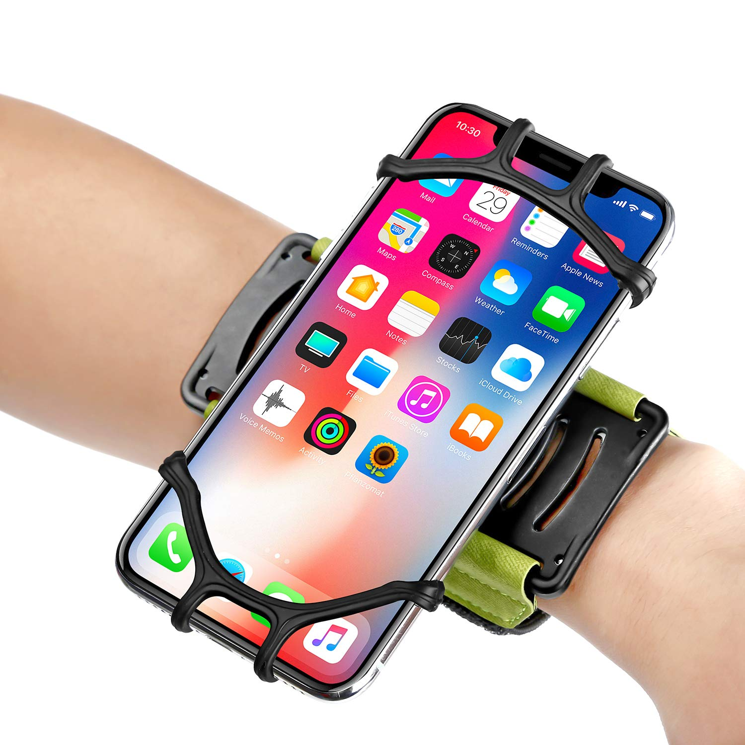 WAAO Sport Wristband, 180° Rotatable Phone Holder Forearm Armband Ideal for Jogging Running Compatible with iPhone X/8/8 Plus/7/7 Plus/6/6S Plus Samsung Galaxy S9/S8 & 4.0''-5.5'' Smartphone