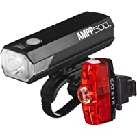 CAT EYE - AMPP500 Rechargeable Bike Headlight and Rapid Mini Rear Safety Light, High Power LEDs, with Micro USB Cables