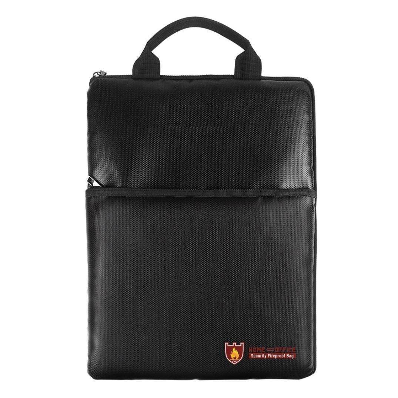Fireproof Document Pouch Fire Ziplock Bag Handbag Resistant Waterproof Bag Money Files Safety Bag (Black)