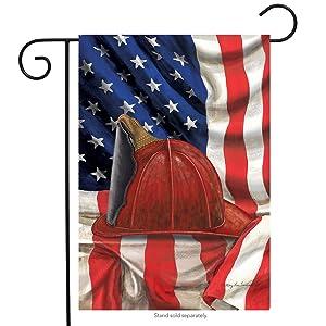 "Briarwood Lane Fireman Helmet Garden Flag Emergency Services Firemen Patriotic 12.5"" x 18"""