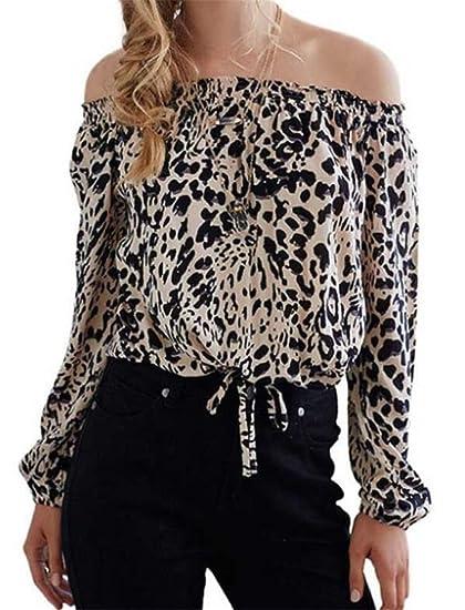5c07afd6ecf Amazon.com: Women Sexy Leopard Print Long Sleeve Off Shoulder Tee ...
