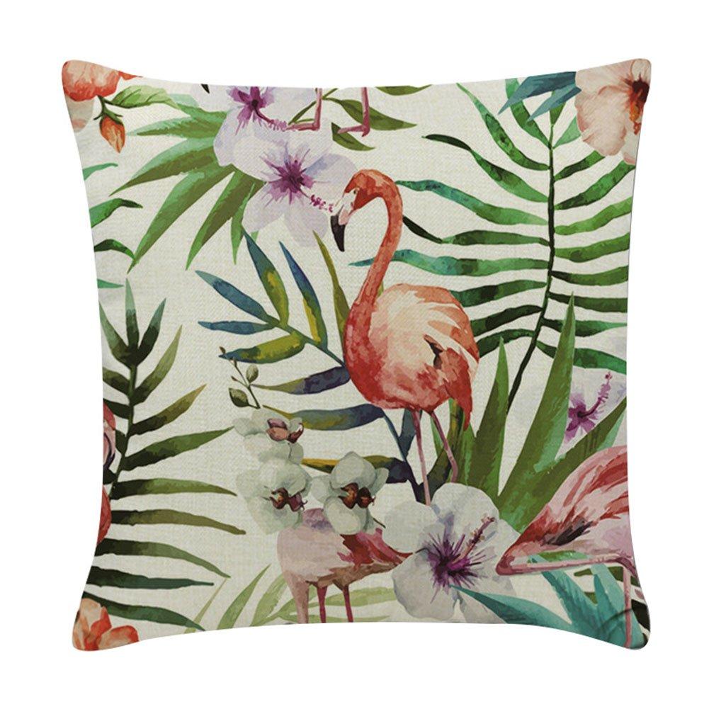 Monbedos Fundas de Cojín Tropical Flores y Pájaros Funda de almohada de lino para dormitorio Sala de estar Oficina Coche, Tamaño 45 x 45 cm (flores tropicales y pájaros 3)