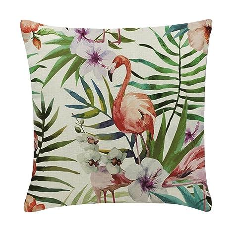 BIGBOBA - Funda de cojín de lino y algodón con forma de flamenco para sofá, cama, decoración del hogar, funda de almohada 45 x 45 cm