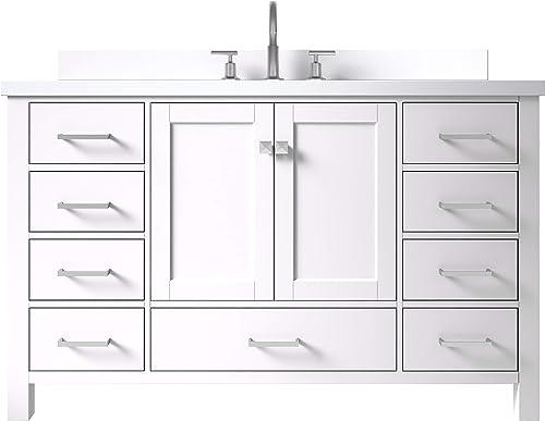 ARIEL 55″ Inch White Bathroom Vanity