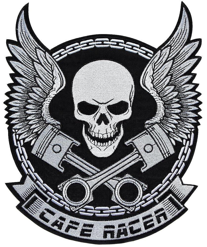 topt mili ecusson route 66 biker motard moto tete de mort thermocollant grand format 31x26cm patche badge