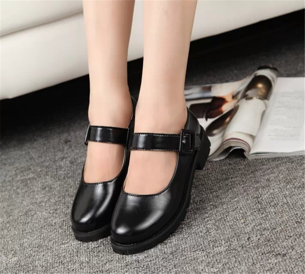ACE SHOCK Women's Girl's Lolita Low Top Japanese Students Maid Uniform Dress Shoes (5.5, Black) by ACE SHOCK (Image #4)