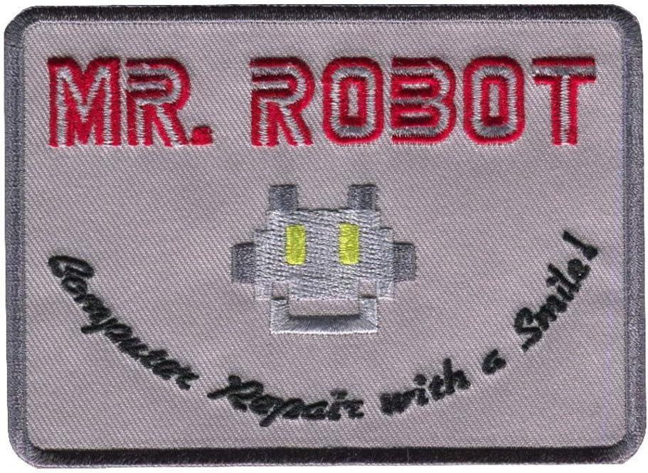 Titan One Europe Mr Robot Computer Repair with a Smile Riparazione con Un Sorriso Toppa Ricamato Termoadesivo