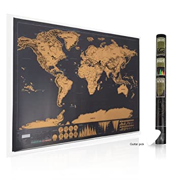 Amazon travel scratch off the world map deluxe black edition travel scratch off the world map deluxe black edition with a scratcher 3248x23 gumiabroncs