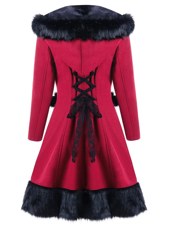 Women Long Woolen Coat Vintage Imitation Rabbit Fur Hooded Coats Casual Lace Up Christmas Overcoats