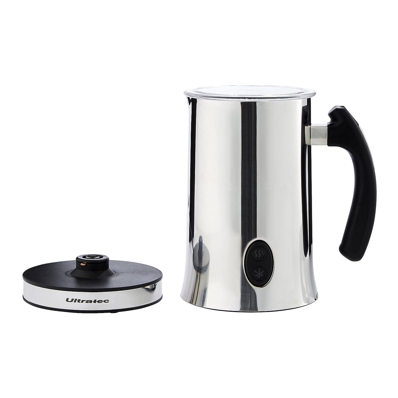 Ultratec - Espumador de leche y - Calentador de acero inoxidable con mango negro, aislado, 500 W, 300 ml: Amazon.es: Hogar