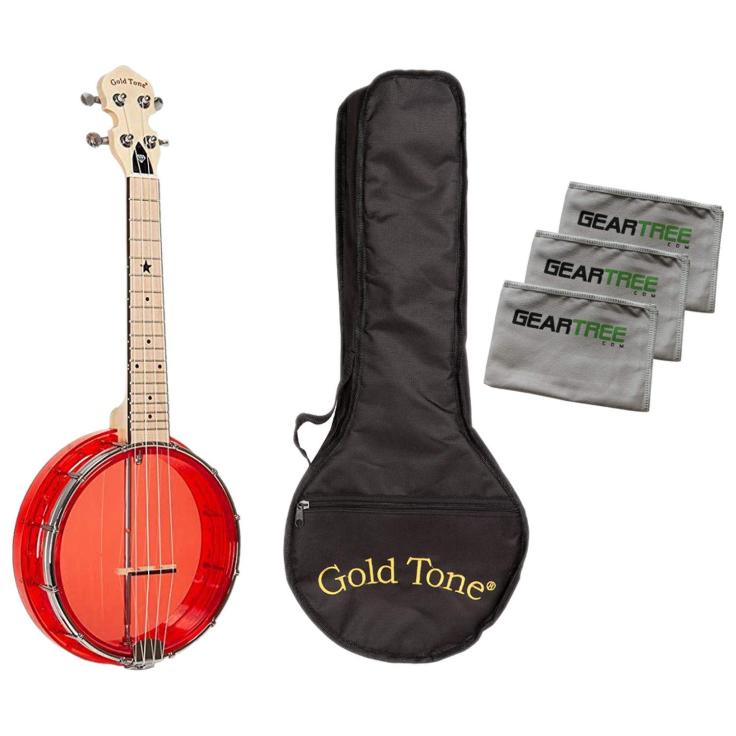 Gold Tone Little Gem Ruby Clear Banjo Ukulele Bundle w/Bag & Cloth