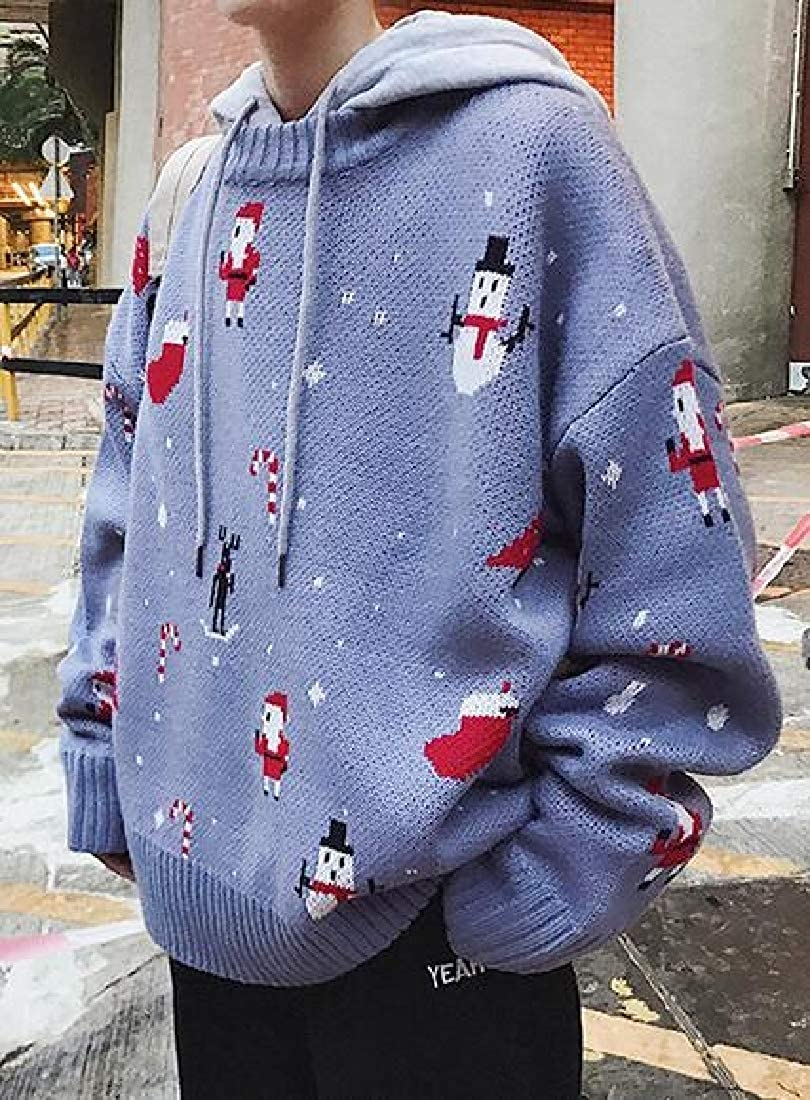 Bravepe Mens Loose Fit Big /& Tall Knitting Snowman Roundneck Pullover Sweater