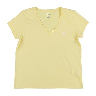 Ralph Lauren Damen V-Neck Shirt T-Shirt Yellow Größe S  Amazon.de ... 1cb92f1f95