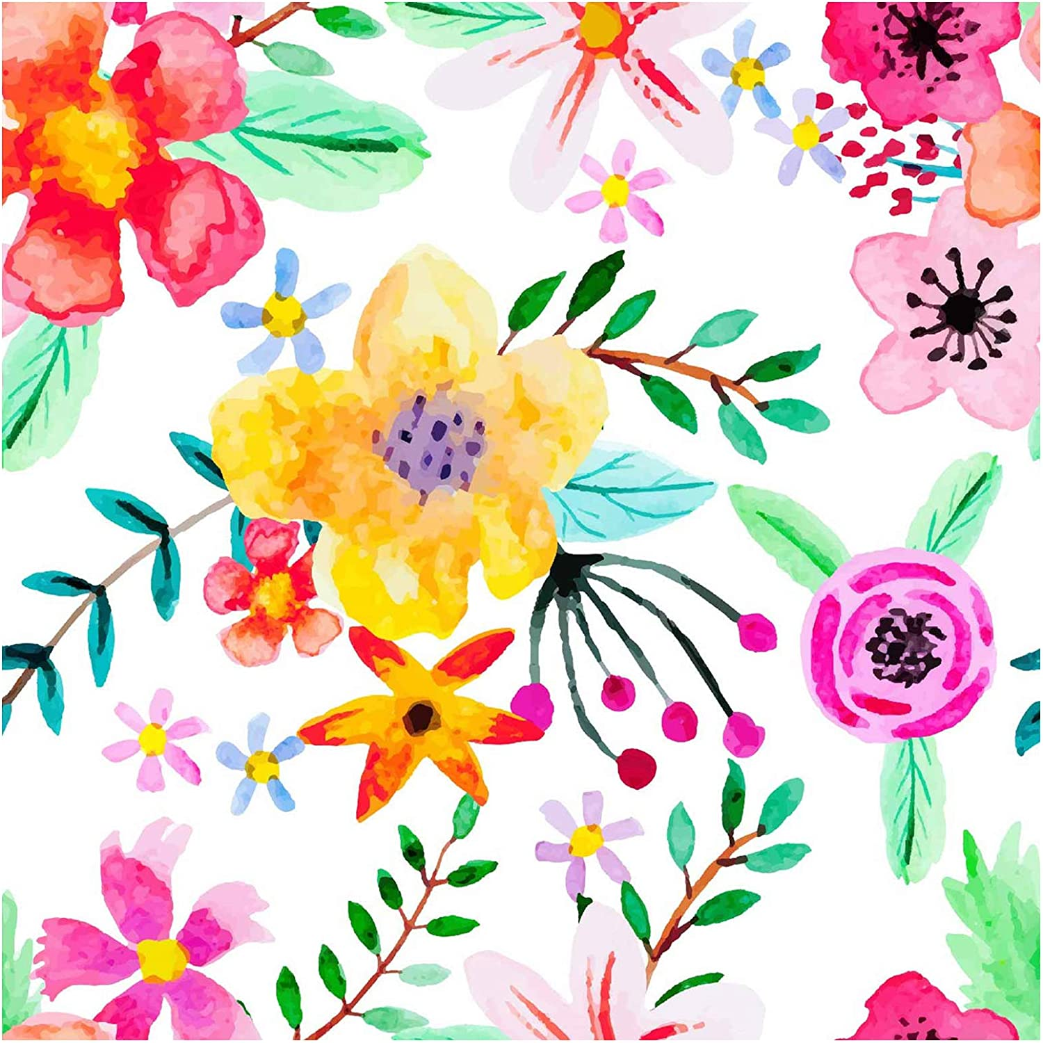 Amazon Com Blooming Wall Peel Stick Fresh Handpainting Seamless Watercolor Red Yellow Purple Flower Green Leaves Self Adhesive Prepasted Wallpaper Wall Mural Kitchen Dining