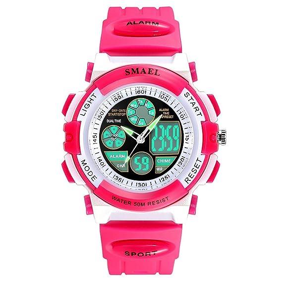 siniya Kids Reloj Cuarzo Reloj impermeable natación reloj deportivo niños niñas LED Digital relojes para niños: Amazon.es: Relojes